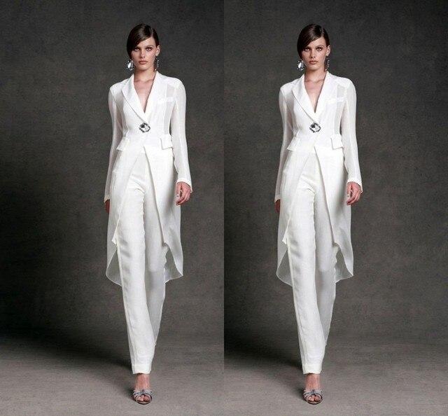 vestido para mae da noiva White trouser suit Mother of the Bride ...