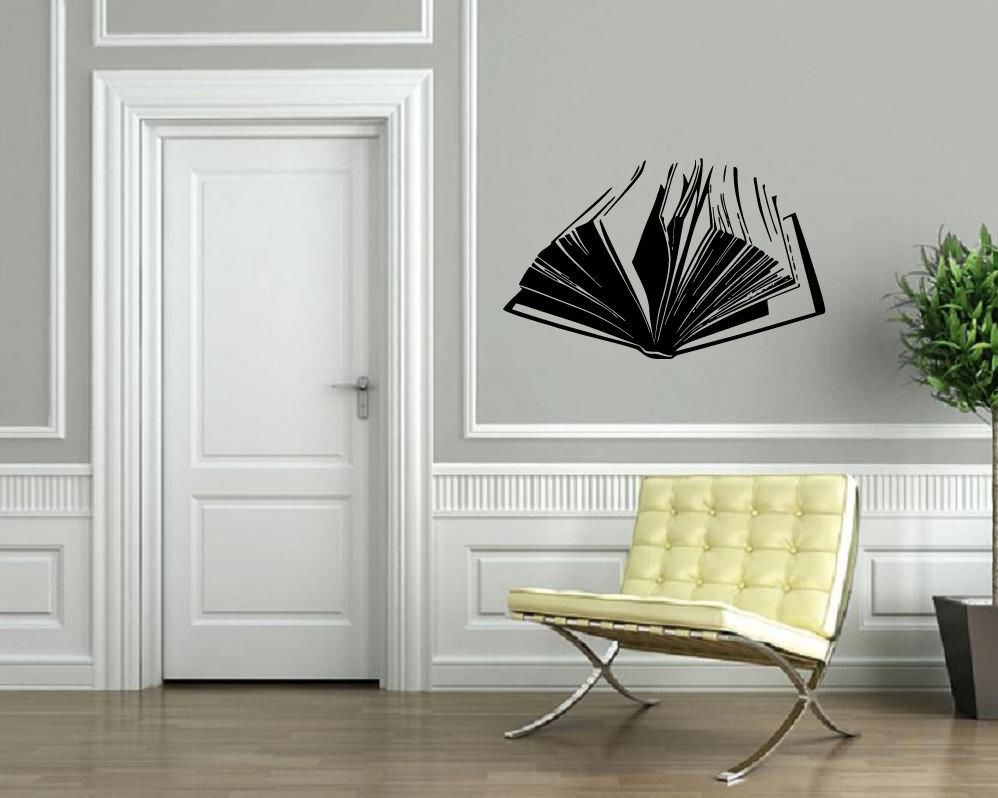 popular mural books buy cheap mural books lots from china mural open book literature read wall sticker home decor wall decal vinyl decals wall decoration wall mural