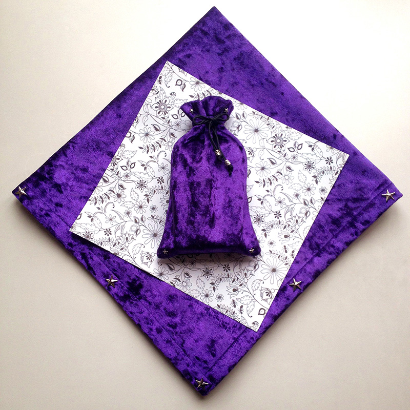 Purple/Pink/Blue/Navy Tarot Tablecloth High Quality Flocking Fabric ,Pentagram Style Tarot Board Game Accessories By Hand