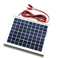 BUHESHUI 5W Polycrystalline Solar Panel+Cable Crocodile Clip For 12V Car/Boat/Motor Battery Portable Solar Charger Free Shipping