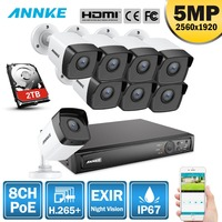 ANNKE 5MP H.265+ Super HD PoE Network Video Security System 8pcs 4mm Lens IP67 Outdoor POE IP Cameras Plug & Play PoE Camera Kit