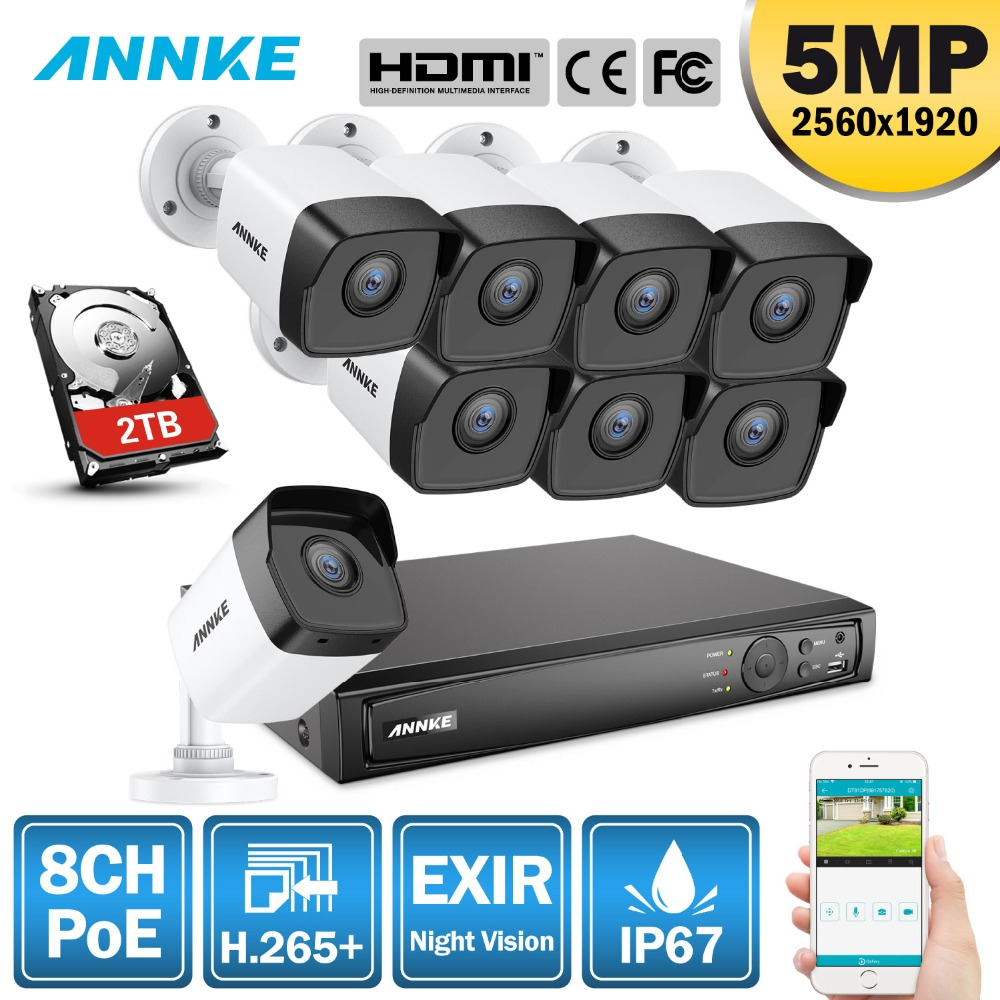 ANNKE 5MP H.265 + système de sécurité vidéo réseau PoE Super HD 8 pièces 2.8mm IP67 caméras IP POE extérieures Kit de caméra PoE Plug & Play