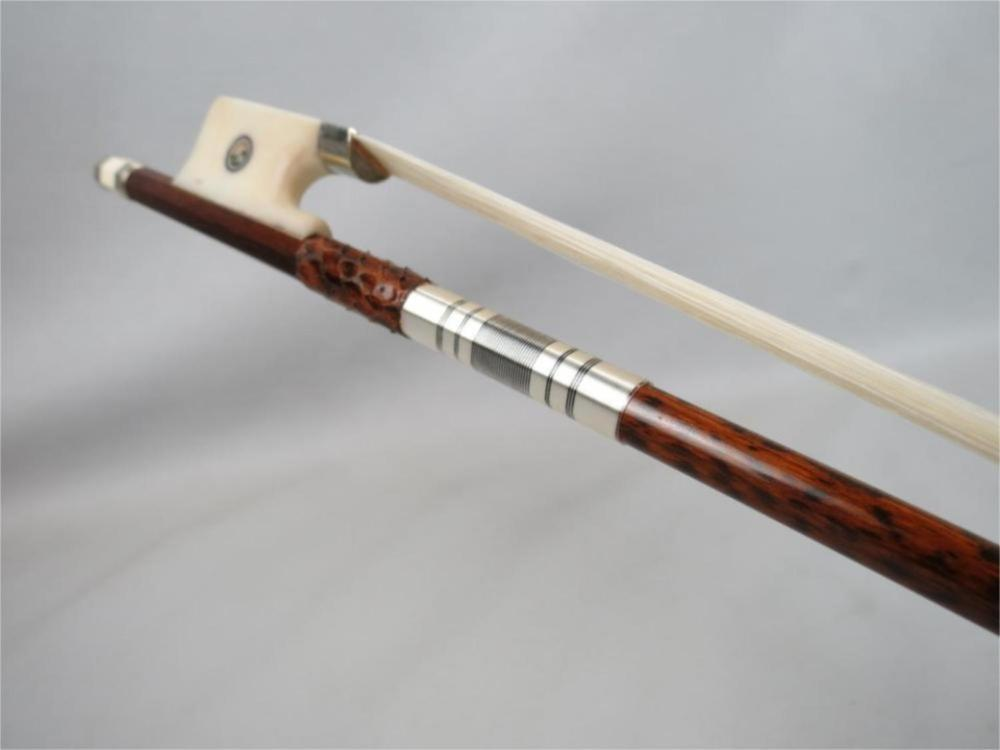 1 Pc Professional Snake Wood 4/4 Cello Bow Ox Bone Frog Siberia White Horsetail Nickel Silver Fittings Free Shipping aaaaa professional pernambuco wood 4 4 violin bow white siberia horsetail nickel siver mounted ebony frog free shipping 9