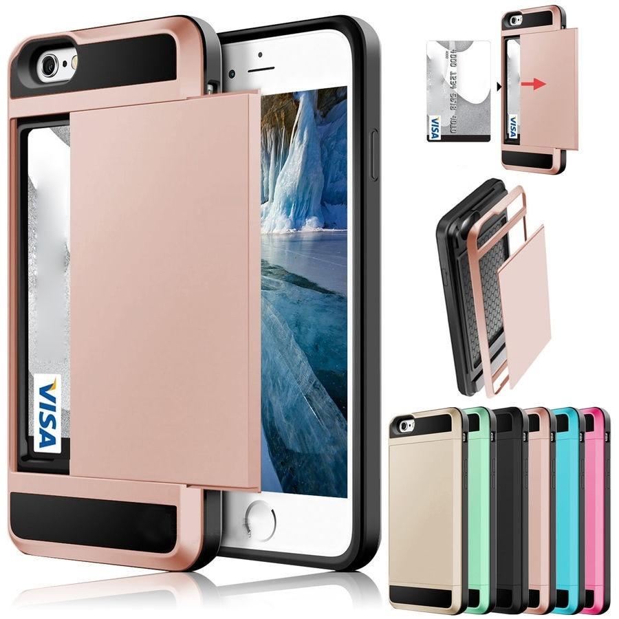 Slide Card Shockproof Slim Hybrid Combo Card Wallet Hard Back Phone Case Cover for Iphone 4 5 6 7 Samsung Galaxy S7 S8 Plus Case visa