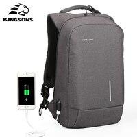 Kingsons External Charging USB Function Laptop Backpack Anti Theft Man Business Dayback Travel Bag 13 15