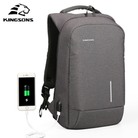 Kingsons External Charging USB Function Laptop Backpack Anti Theft Man Business Dayback Travel Bag 13 15