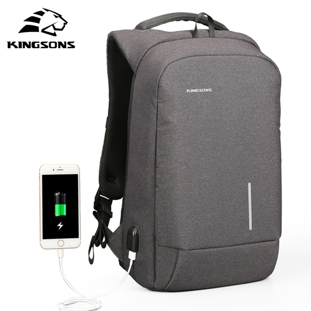 Kingsons USB Charge Anti Theft Men Backpack 15.6'' Laptop Backpack ...