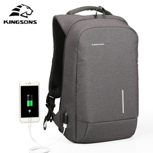 "Kingsons USB Charge Men Backpack 15.6"" Laptop Backpack Large Capacity Casual Waterproof Bag women backpack Phone Suction Holder"