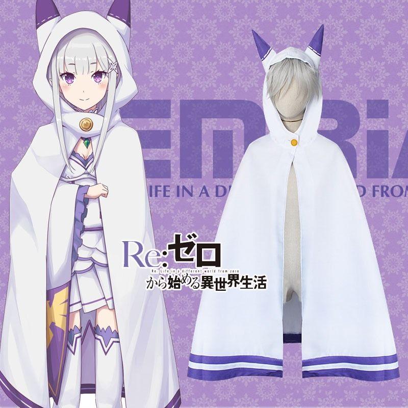 Re:Zero kara Hajimeru Isekai Seikatsu Anime Emilia Cosplay Cat Ears Cloak Cape @