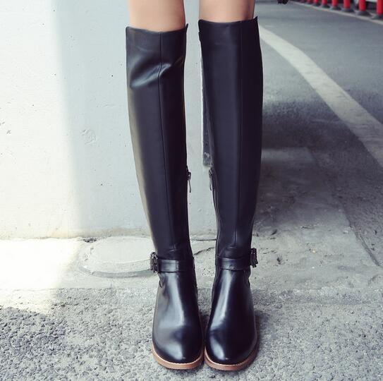 2017 New Fashion Motorcycle Women Boots Buckle Knee High Low Heel Long Boots Genuine Leather Knee High Black Zipper Boots 2016 new fashion winter knee high boots high quality personality knee high boots comfortable genuine leather boots