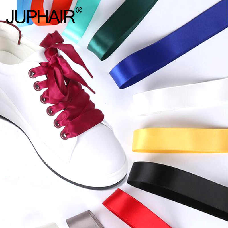 1 Pair 80/100/120/140cm Women Satin Lace Ribbon Caramel Color Double-Sided Material Smooth Bud Silk Wide Flat Shoelaces 30 Color