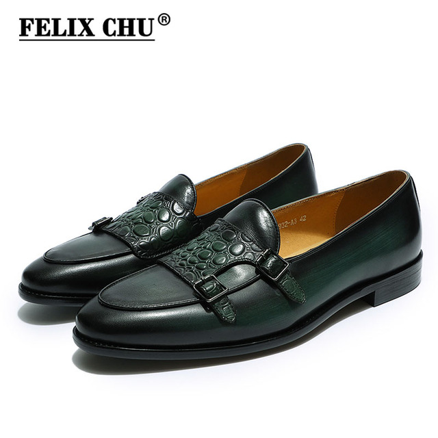 FELIX CHU Luxury Men's Double Monk Strap Loafers Genuine Leather Brown Green Mens Casual Dress Shoes Slip On Wedding Men Shoes