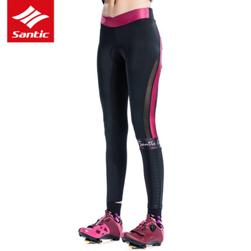 SANTIC Women's Bike Pants Tights Mountain Bike Pants Underwear Long Trousers Imported 4D Sponge Padded cycling Pants for Bicycle