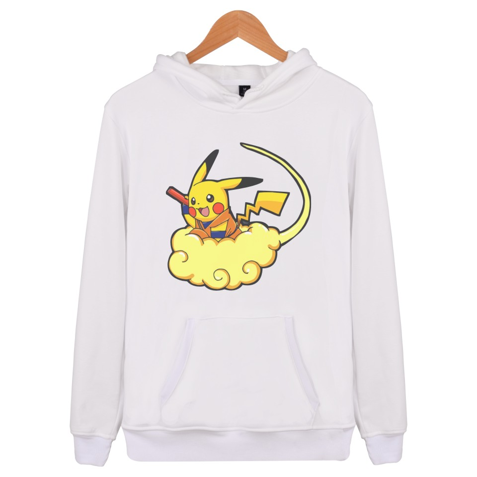 2018 Pokemon Go Mens Hoodies And Sweatshirt Hip Hop Anime Pikachu Pullover Long Sleeve Hoodie Men Plus Size Fashion Pink  Jacket