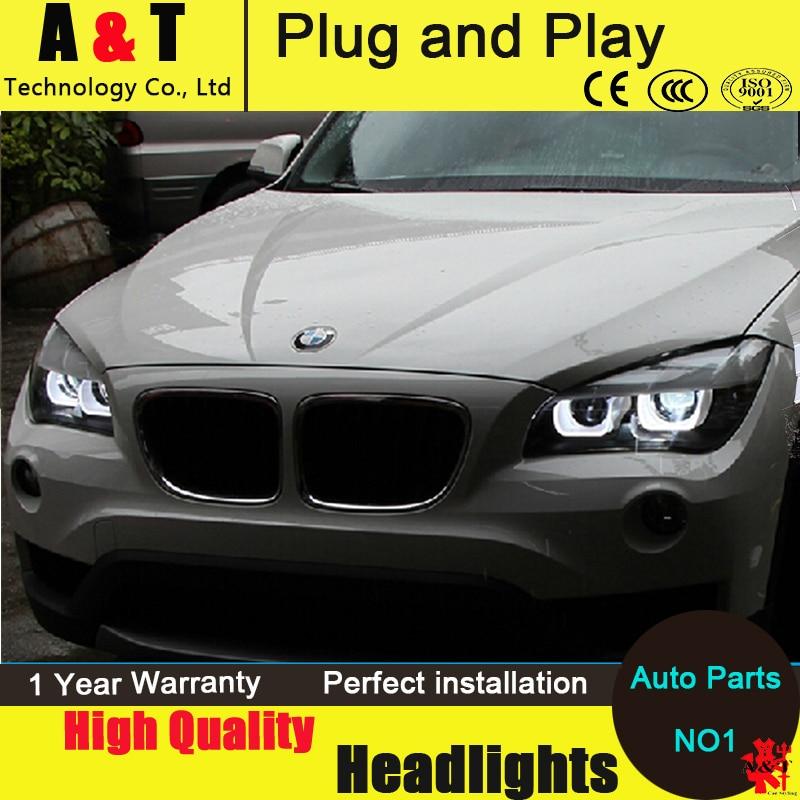 Car Styling LED Head Lamp for BMW E84 Headlight assembly X1 LED Headlight 120 125 angel eye headlight h7 with hid kit 2pcs.