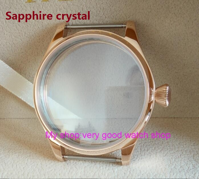 sapphire crystal parnis 44MM 316L stainless steel watch case plating Rose gold fit 6497/6498 Mechanical Hand Wind movement 08 44mm watch 316l stainless steel rose golden plated case fit 6498 6497 movement12
