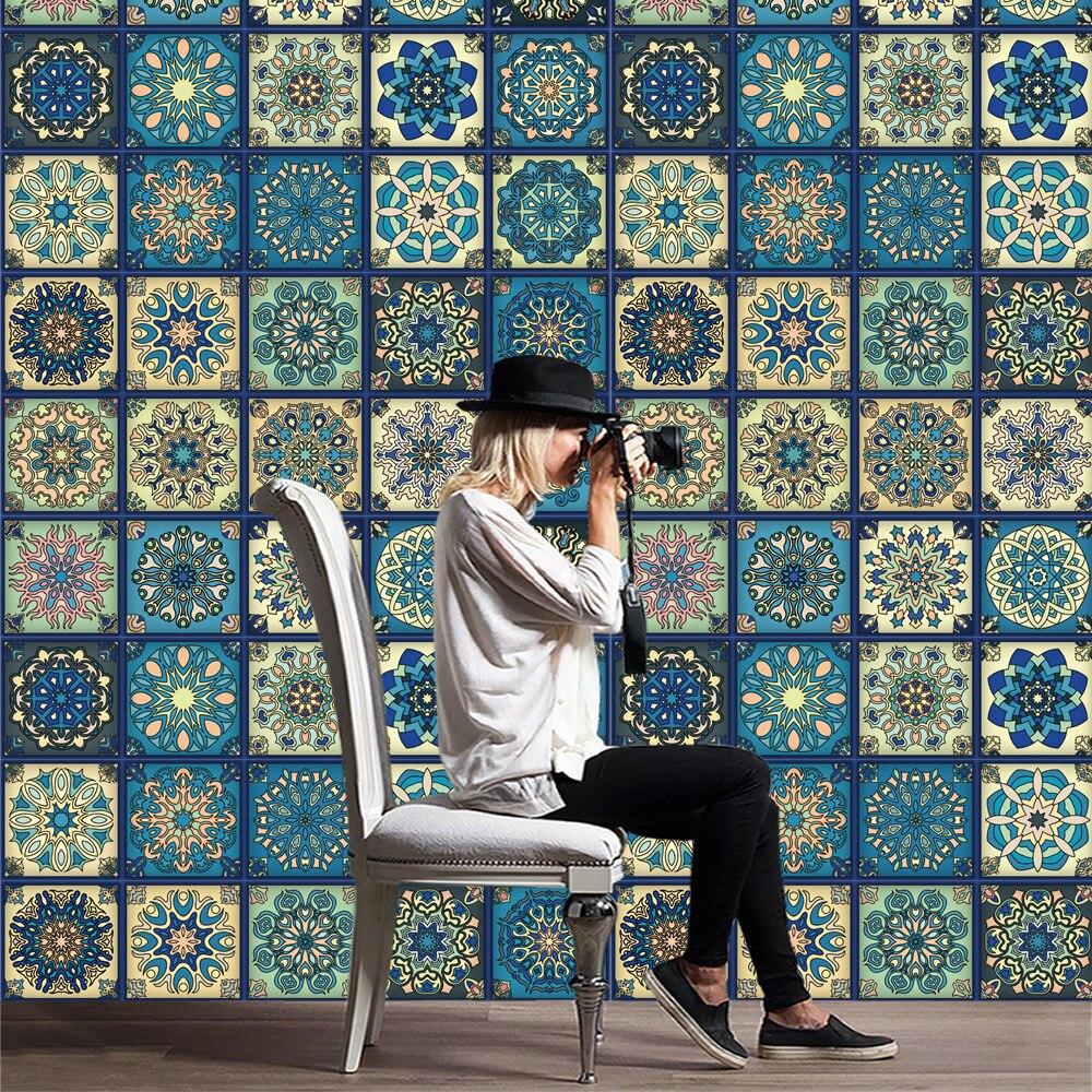 2018 promoción llegada vintage barroco azulejos adhesivos mural pegatinas de pared para decoración del hogar pegatina extraíble papel pintado