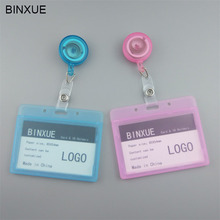 BINXUE Employees card Cover Transparent double view Hard Holders badge and lanyard hang tag Easy to buckle Access control