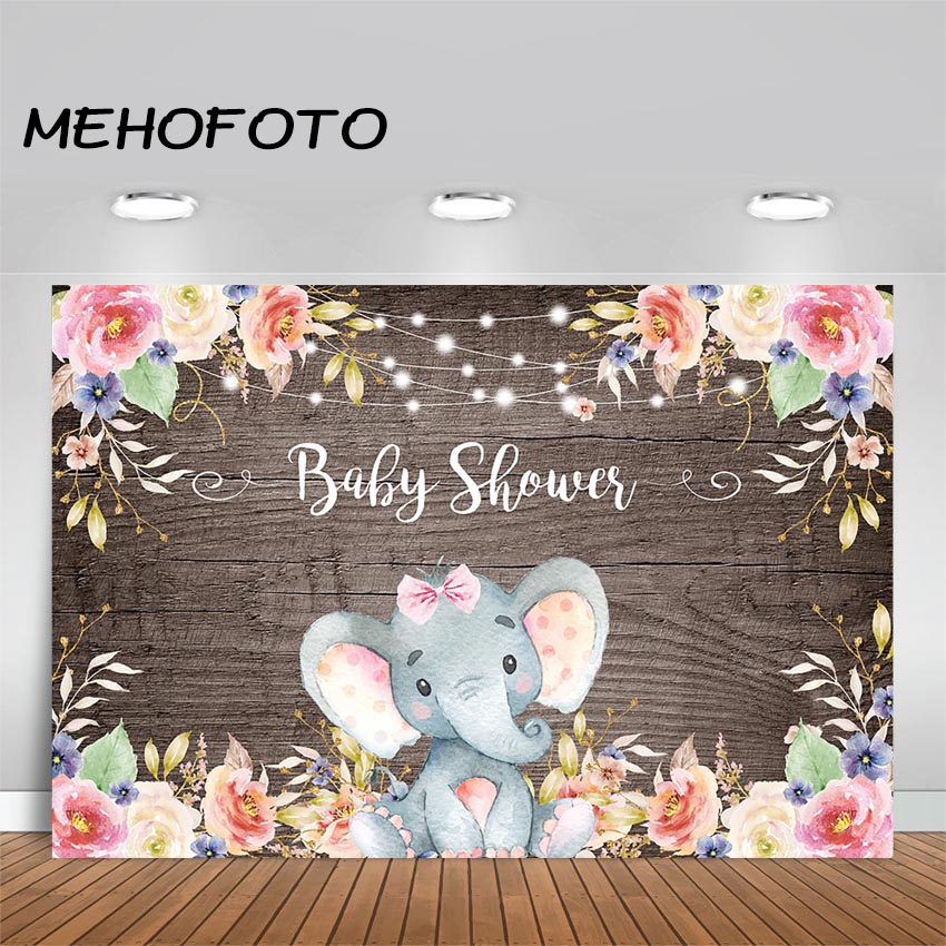 MEHOFOTO Girl Elephant Baby Shower Backdrop Photography Background Floral Party