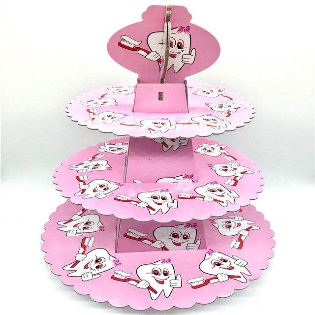 1set 3 Tier Baby Boy Kids Birthday Party Decoration Pink Teeth Cake