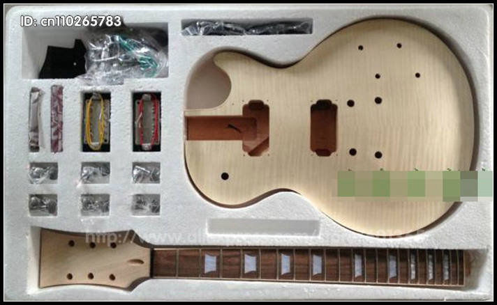 DIY Electric Guitar Kit  Set-In  Solid Mahogany Body Neck Flamed Maple Veneer HY001 custom shop electric guitar kit nature wood grain finish solid mahogany guitar body for sale