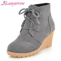 Lasyarrow Women Winter Boots Wedge Platform High Heel Boots 2018 Ankle Boots Lace Up Shoes Autumn Big Size 43 botas mujer F437