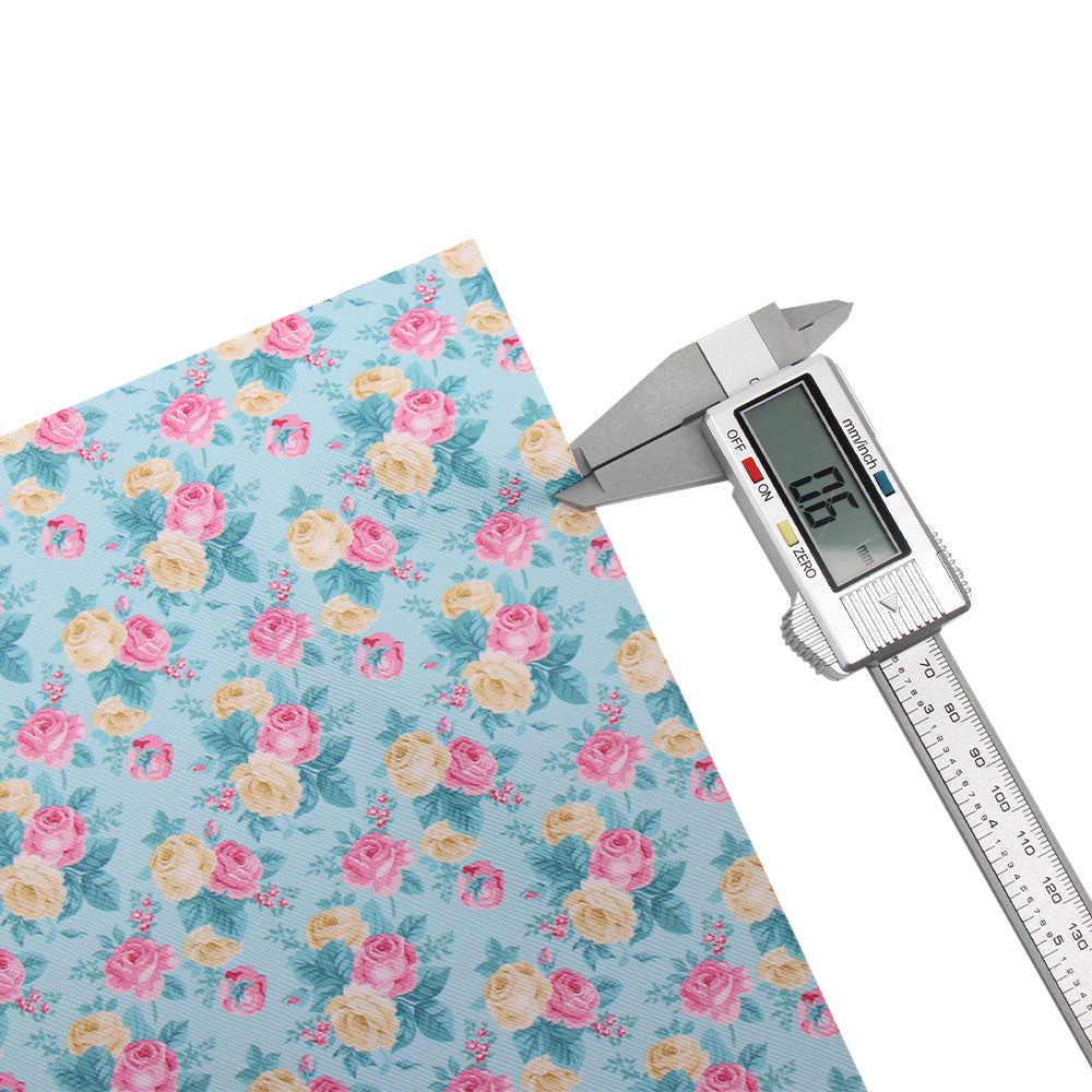 JOJO moños 22*30cm 1 pieza de tela de cuero sintético de imitación para hojas impresas de flores artesanales para costura DIY lazos para el cabello decoración del hogar