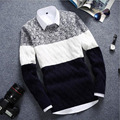 2016 NEW Autumn Winter Brand Men's Long Sleeve Thick Sweater Slim O-Collar Knitted Pullovers Patchwork Color Bottoming Sweater