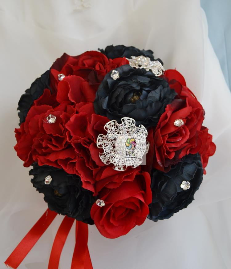 Luxury Hand Made Wedding Bridal Bouquet Bridesmaid Brooch Flower Black And Red Color Silk Rose Supplies In Artificial Dried Flowers