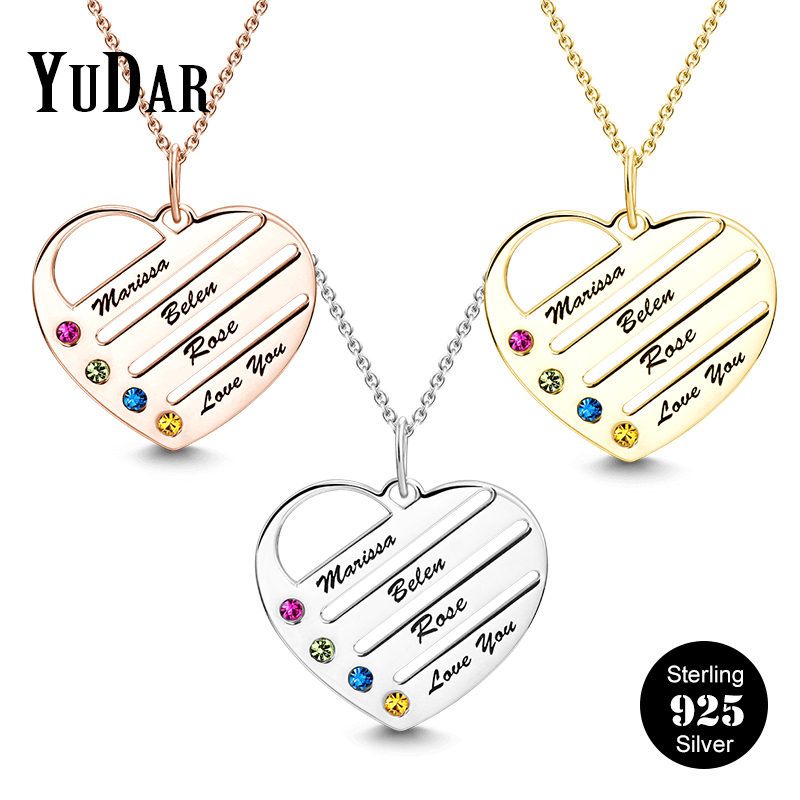 d1e32df1b4 Birth Stones Heart Pendant Necklace 925 Sterling Silver Personalized  Engravable Name Necklace Gifts for Family Mom Nana YDS-1070