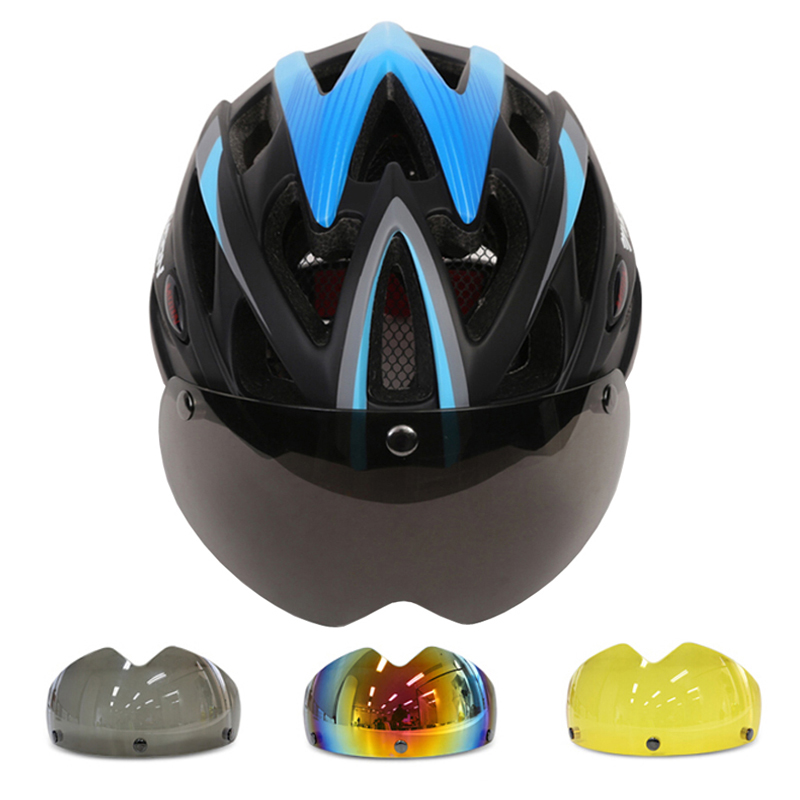 MOON Magnetic Goggles Bicycle Helmet In mold Cycling Helmet With Lens Ultralight Casco Ciclismo Bike Helmet 55 61 CM 3 Colors|Bicycle Helmet| |  - title=