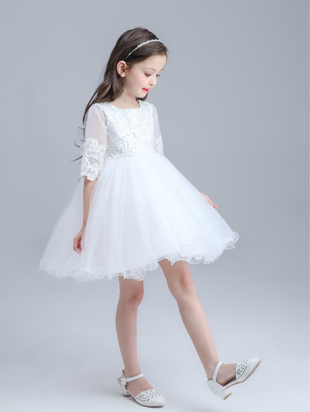 Spring White Princess Children Flower Girl Dress For Weddings Kid