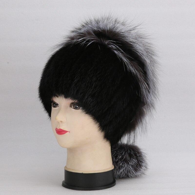 Capuchon en vrai vison et fourrure de renard   En argent naturel moelleux avec fourrure de lapin, anneau décoratif autour du chapeau chaud et d'hiver pour les femmes, chapeau chaud pour les oreilles
