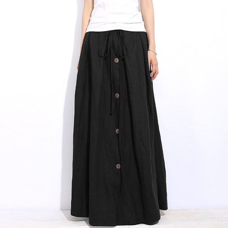 Hot Zanzea Drawstring Buttons High Elastic Waist Long Skirt Solid Basic Fashion Autumn Female Casual Leisure Floor-Length Skirts
