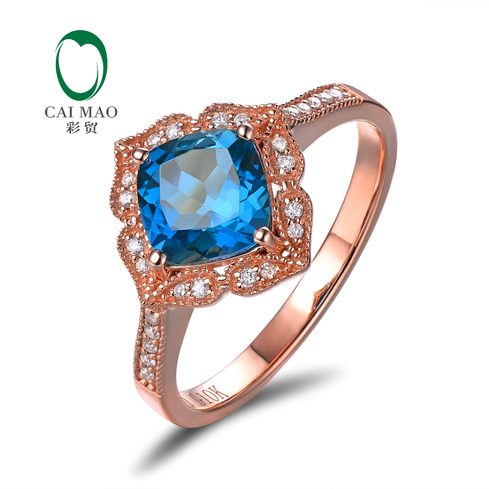 Caimao Bijoux 14kt Or Rose 1.92ct Bleu Topaze & 0.14ct Naturel Diamant Milgrain Engagement Anneau