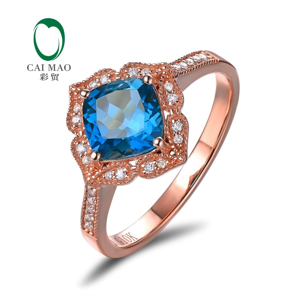 Caimao Gioielli 14kt Oro Rosa 1.92ct Blu Topaz & 0.14ct Naturale Diamante Milgrain Anello di Fidanzamento