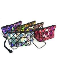 Women Design Fold Over Handbags Madam Pouch Geometric Plaid Tote Casual Clutch Bags Messenger Bag Shoulder