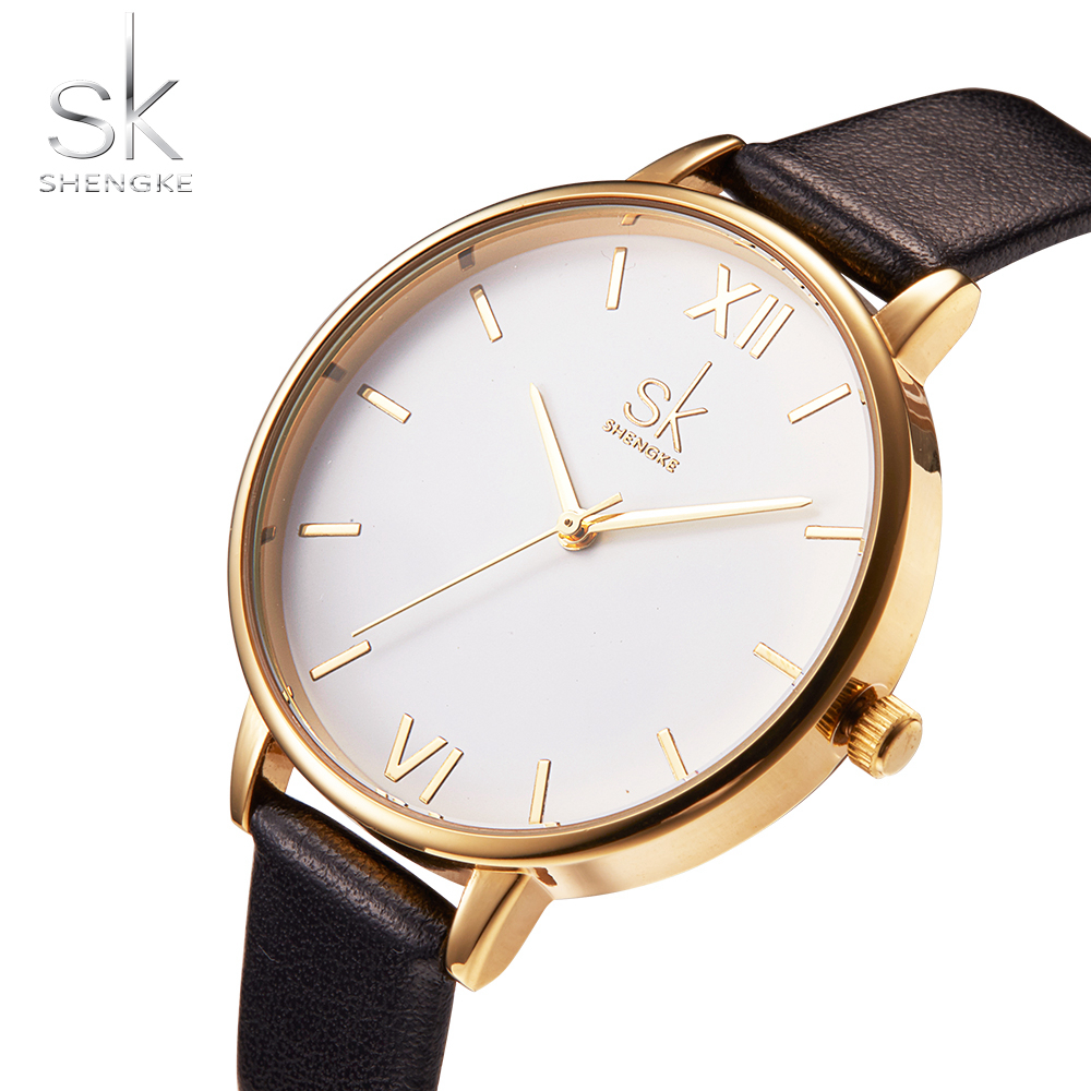 Shengke Top Brand Women Watches Simple Leather Wrist Watch Luxury Gold Women's Watches Ladies Watch Clock Saat Relogio Feminino