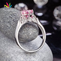 Peacock Star Flower 925 Sterling Silver Wedding Promise Anniversary Ring 1.25 Ct Fancy Pink Created Diamond Jewelry CFR8258