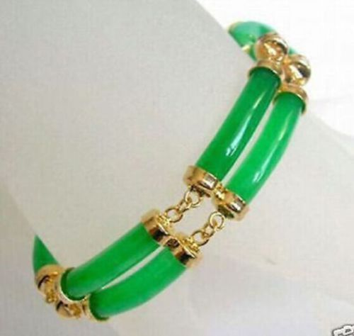 new Rare Double row Natural Green JADEITE GP Jewelry bracelet 7.5 inches