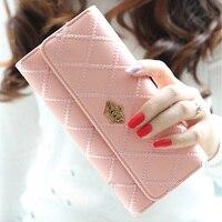 New Fashion Trend Crown Logo Lattice Embroidery Flip Long Purse Money Clip Wallet LXX99