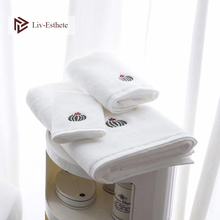 Liv-Esthete 2019 New Nordic Prickly Pear 100 % Cotton White Towel Super Soft Quickly Dry Adult Kids Bath For Bathroom