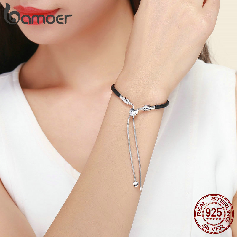 Image 5 - BAMOER Authentic 925 Sterling Silver Classic Black Leather Lace Up Chain Bracelets for Women Sterling Silver Jewelry SCB120-in Chain & Link Bracelets from Jewelry & Accessories