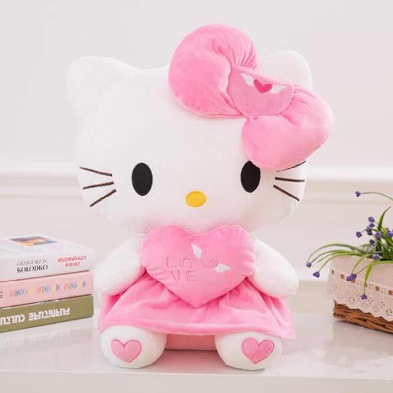 CXZYKING Plush Doll Hello Kitty Plush Hello Kitty Cat With Bow Kitty Pillow Cushion Hug Heart Kids for Girls Gifts Doll Toy