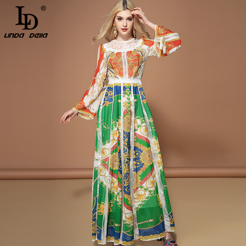 LD LINDA DELLA Fashion Long Sleeve Maxi Dresses Women s Gorgeous Floral Print Lace Patchwork Holiday