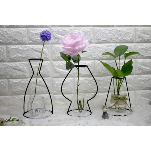 Wrought Iron Transparent Vase Abstract Black Lines Minimalist Abstract Iron Vase Dried Flower Vase Racks Ornaments