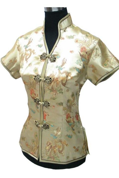 Oro nacional chino de satén de seda mujeres blusa de verano camisa con cuello en