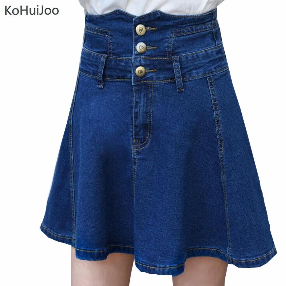 KoHuiJoo 2019 Summer Women Plus Size Denim Skirt Button High Waist Sexy A line Short Mini Denim Jeans Skirts Fashion 8XL