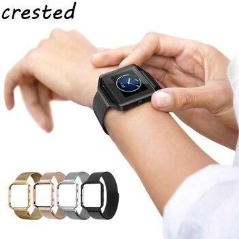 CRESTED Milanese schleifenband für Fitbit Blaze band mit Rahmen Edelstahl Uhrenarmband Magnetverschluss armband für fitbit blaze