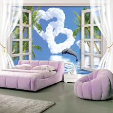 Custom Wall Mural Wallpaper Window Sea View Dolphins Blue Sky White Clouds Love Heart Wallpapers For Home Walls Living Room Sofa